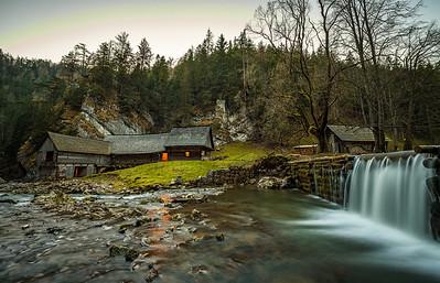Old wooden water mill at National Nature Reserve Kvacianska dolina in Slovakia