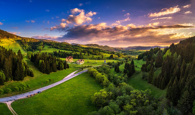 Countryside around the village of Telgart in Slovakia at sunset