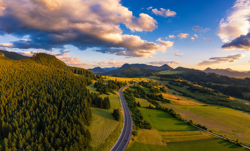 Road going through forests of the Liptov region in Slovakia at sunset