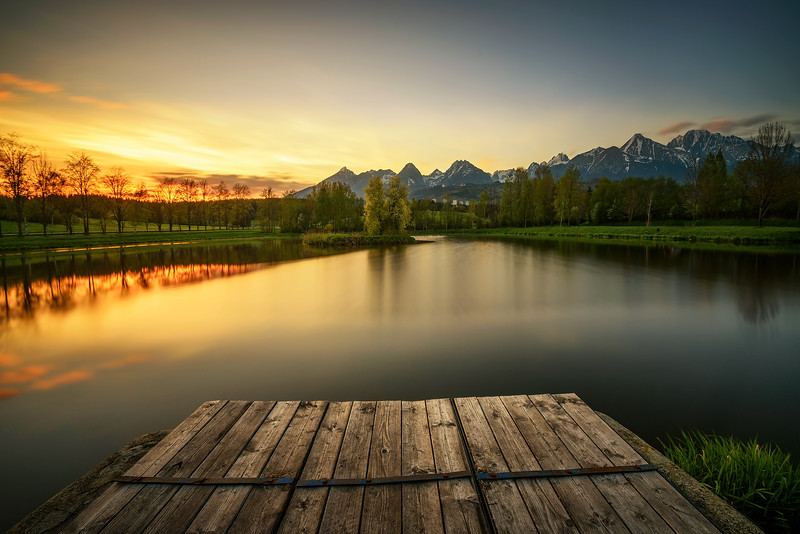 Sunset above a lake in high tatra mountains in Slovakia