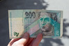 Slovakian money: one of the two countries we visited not yet in the European Union.<br /> Marc got the smallest amount from the ATM- about $6.00 US