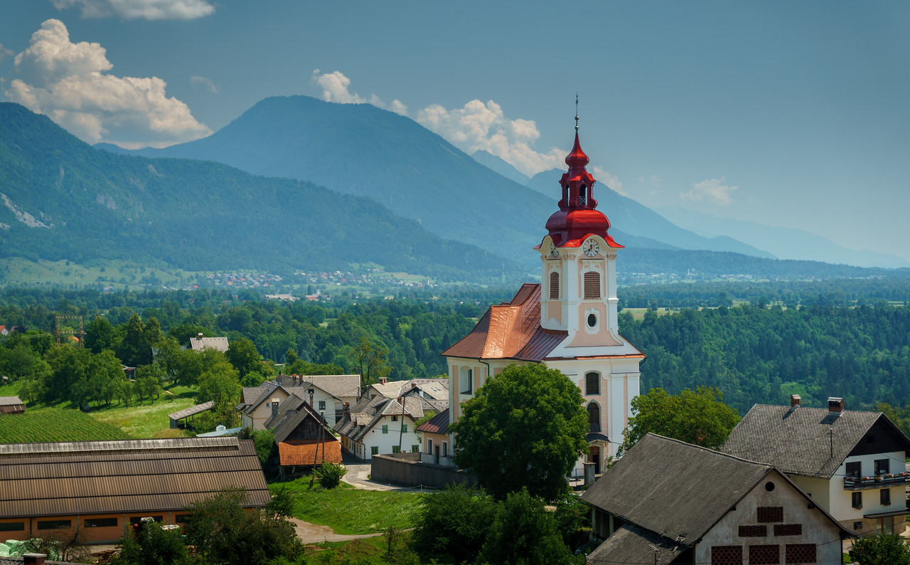 Enchanting view over Zasip, a village in theMunicipality of Bled, around Saint John the Baptist Church.