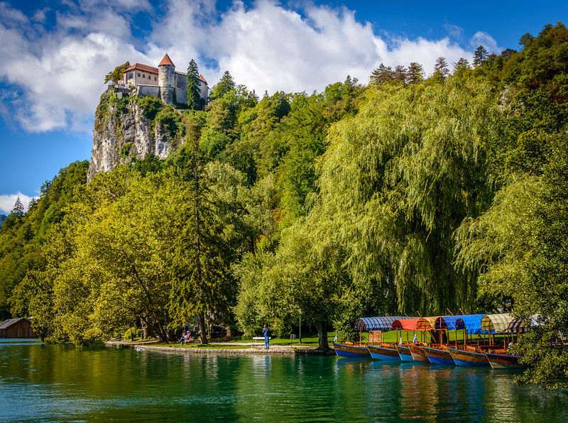 Bled Castle and 6 of 21 Pletna Boats