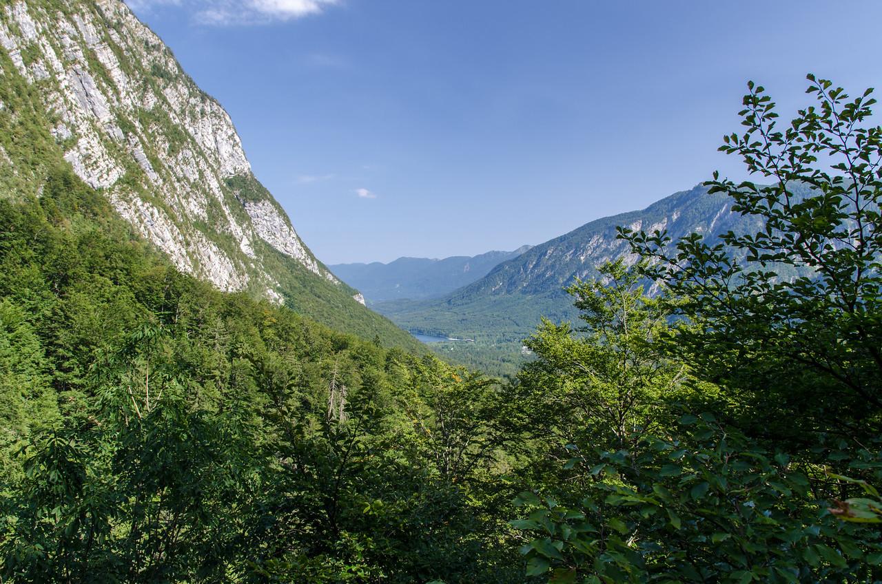 The view to Lake Bohinj from Slap Savica.
