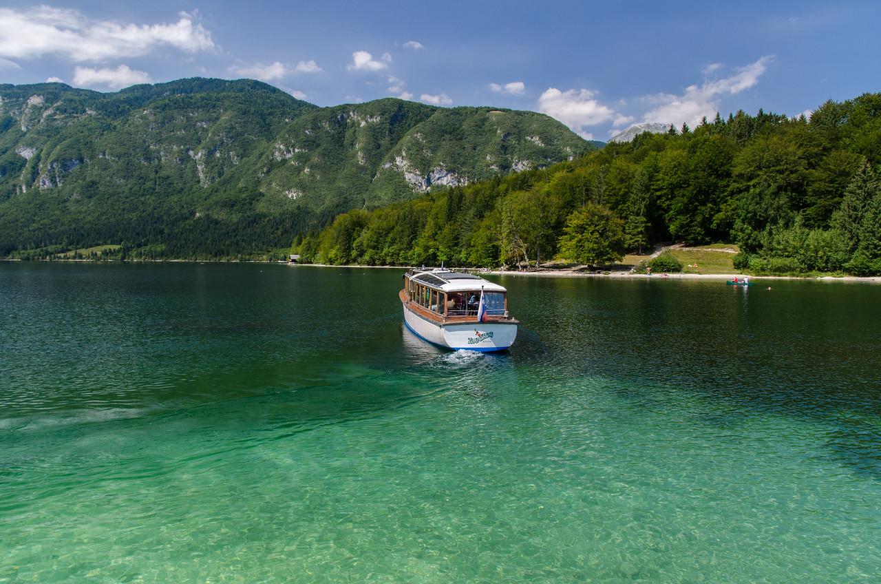 Electric tour boat, Lake Bohinj.