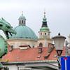 A statue at the corner of the                                       Dragon Bridge in Ljubljana,                                       Slovenia