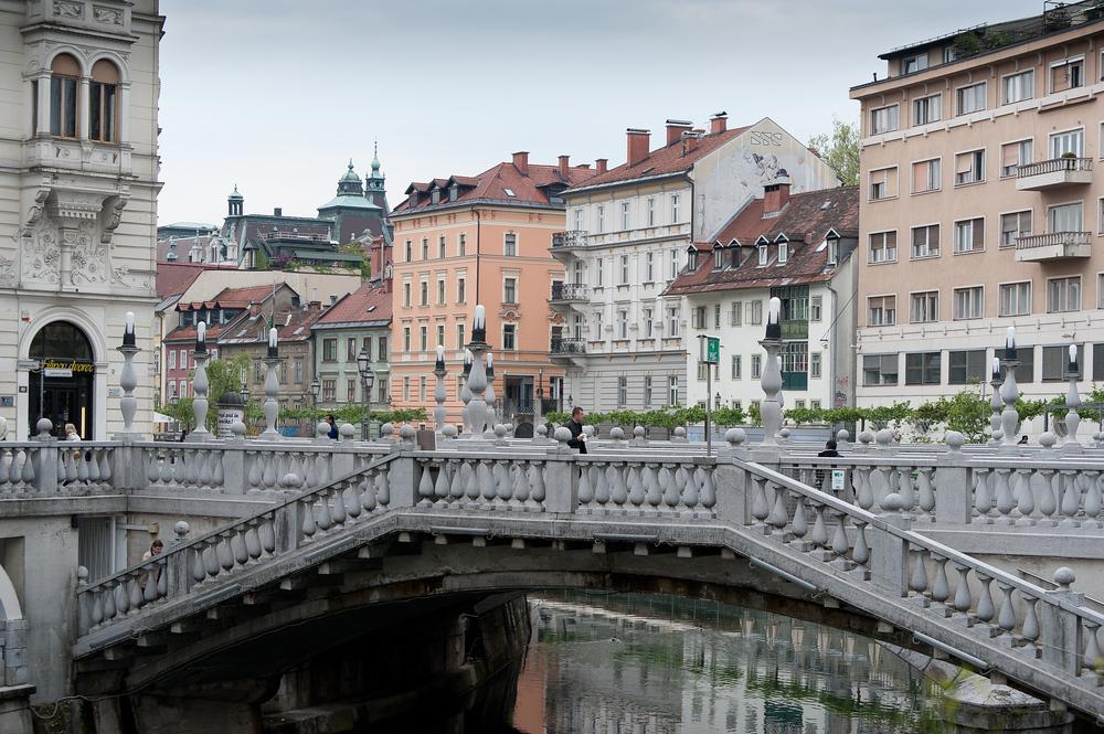 The Triple Bridge Across the Ljubljanica river in Ljubljana, Slovenia