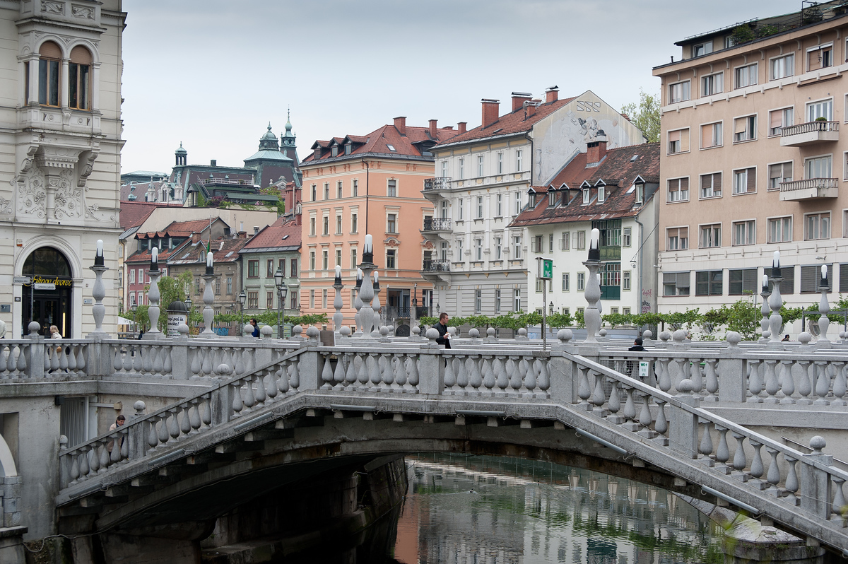 The Triple Bridge Across the Ljubljanica river in Ljubljana, Slovenia