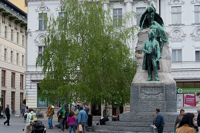 Statue of France Prešeren in Preseren Square - Ljubljana, Slovenia