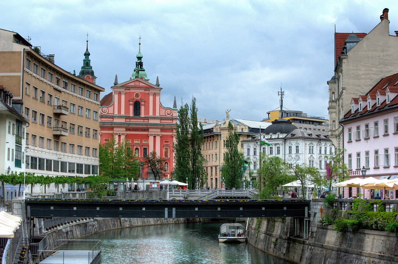 The Triple Bridge above Ljubljanica River in Ljubljana, Slovenia
