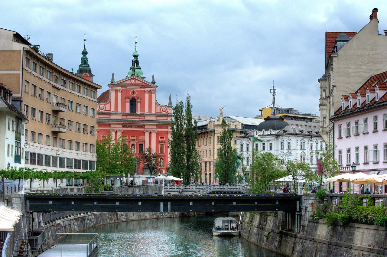 The Triple Bridge above Ljubljanica River in Ljubljana, Slovenia