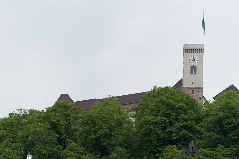 The Clock Tower of Ljubljana Castle in Ljubljana, Slovenia