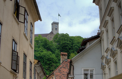 Flag raised at the clock tower of Ljubljana Castle in Ljubljana, Slovenia