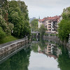 The Ljubljanica River and Triple Bridge in Ljubljana, Slovenia