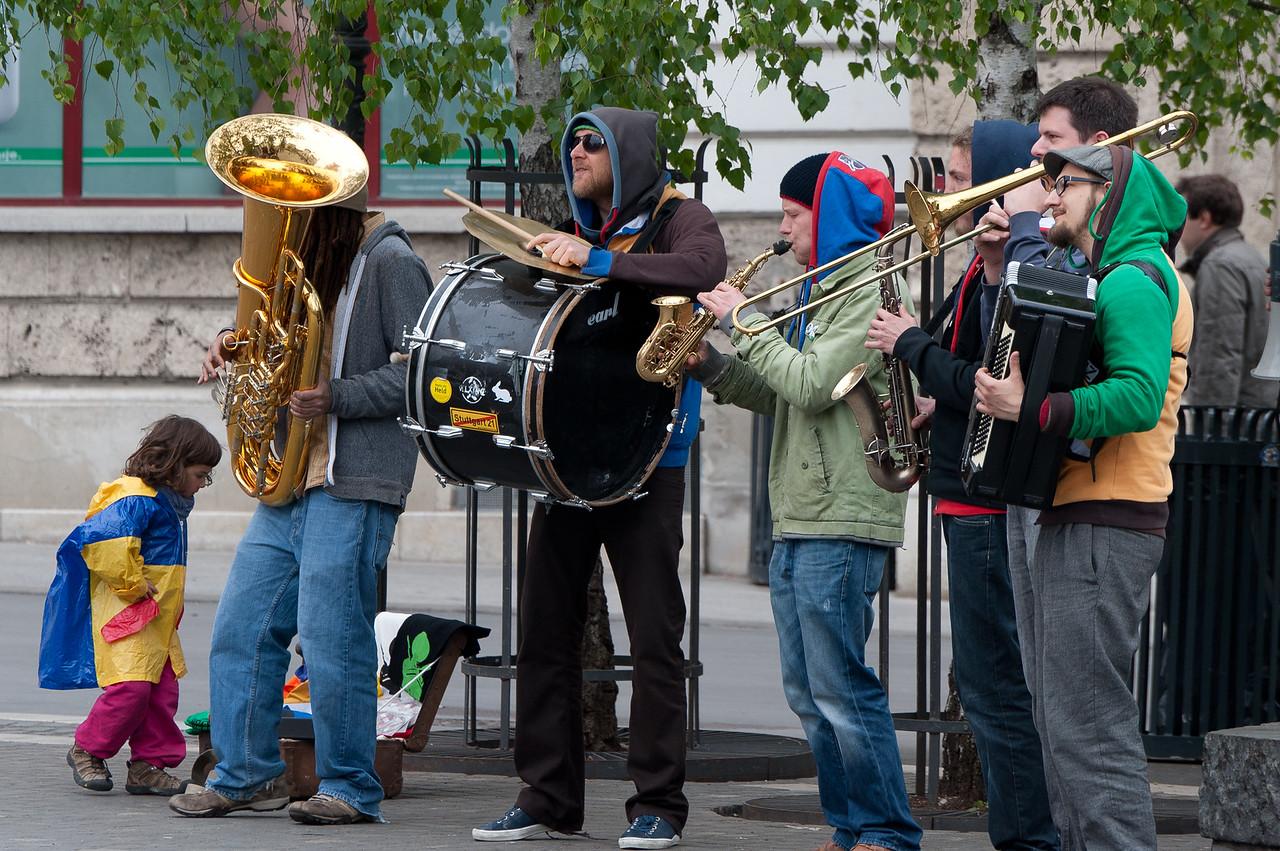 Band playing at Preseren Square in Ljubljana, Slovenia