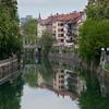 The Ljubljanica River and Triple Bridge in Ljubljana, Slovenia