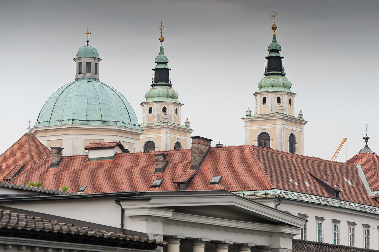 Dome and towers from Ljubljana Cathedral in Slovenia
