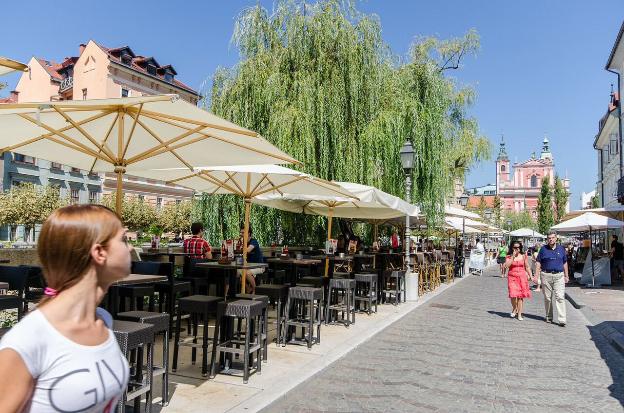 Cafes along the Ljubljanica River.