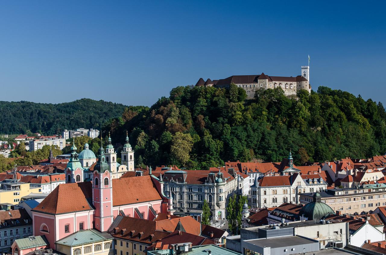 """Ljubljana Castle from """"The Skyscraper."""""""
