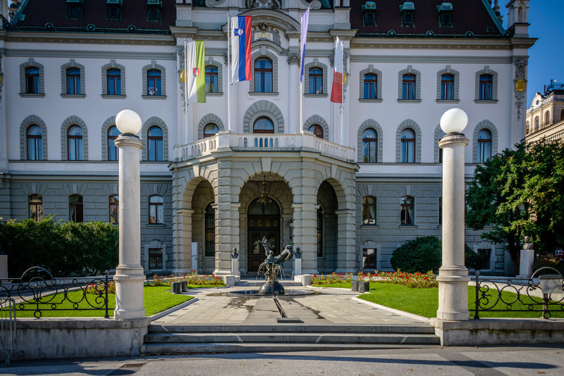 Ljubljana University Main Building circa 1920's in Congress Square