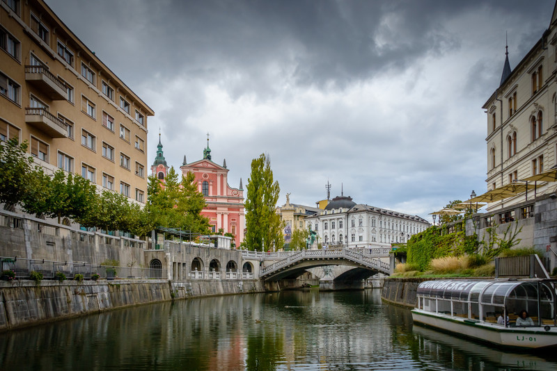 Triple Bridge from Ljubljana River