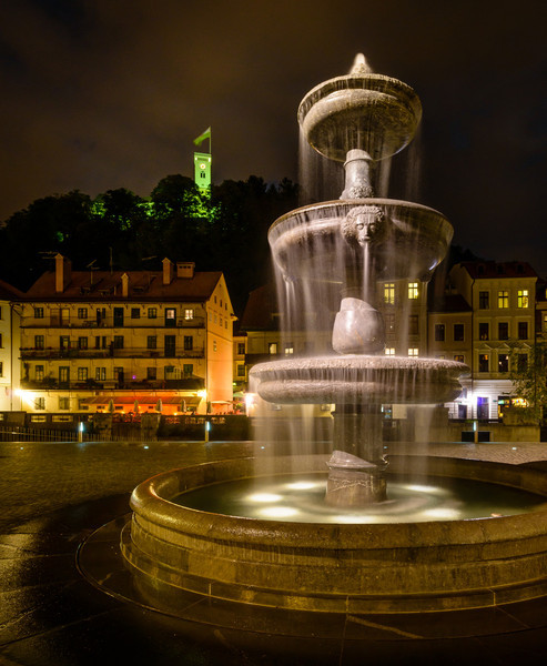 Evening view of Fountain and Castle