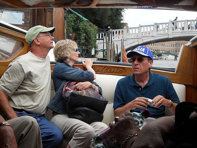 John, Janet and Paul in the water taxi on our way to Hotel Giorgione in Venice.