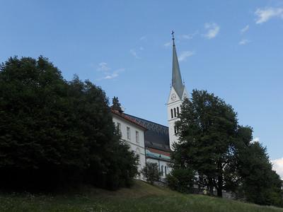Church near the path around the lake at Lake Bled.