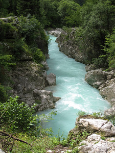 Icy Blue Waters of the Soca River On the Emerald River Day Trip from Lake Bled, Slovenia.