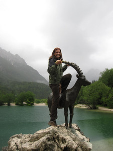 The Golden Goat in Slovenia On the Emerald River Day Trip from Lake Bled, Slovenia.