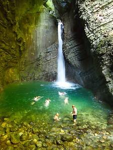 Swimming in a waterfall in Slovenia