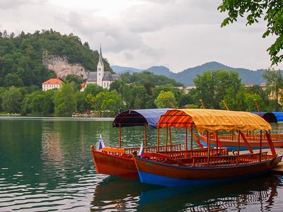 Pletna boats on Lake Bled
