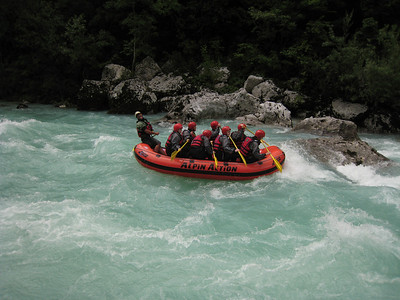 Hitting a Rapid on the Soca River On the Emerald River Day Trip from Lake Bled, Slovenia.
