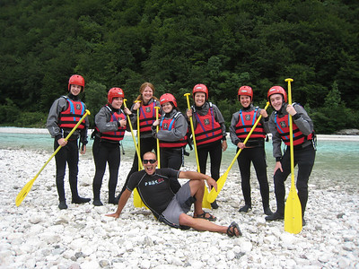 Group shot before hitting the rapids On the Emerald River Day Trip from Lake Bled, Slovenia.