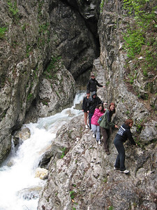 Scaling Cliff to the Mouth of the Soca On the Emerald River Day Trip from Lake Bled, Slovenia.