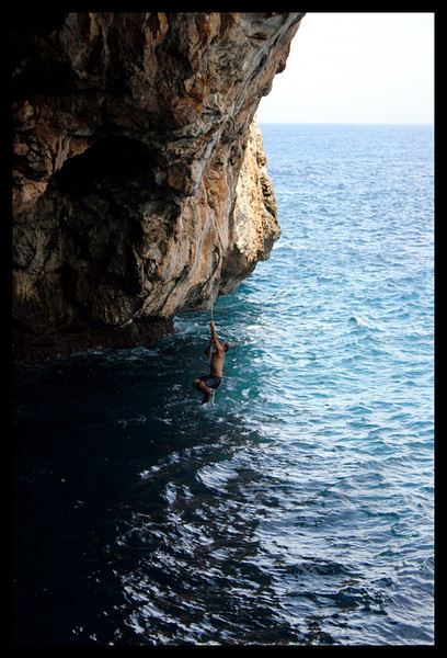 Although this rope looked inviting after the jump to help get onto the rock it was a climb in itself. Not very thick with little knots and soaking wet. It took a fine rest period afterwards to climb again.(Taken by Shasta)