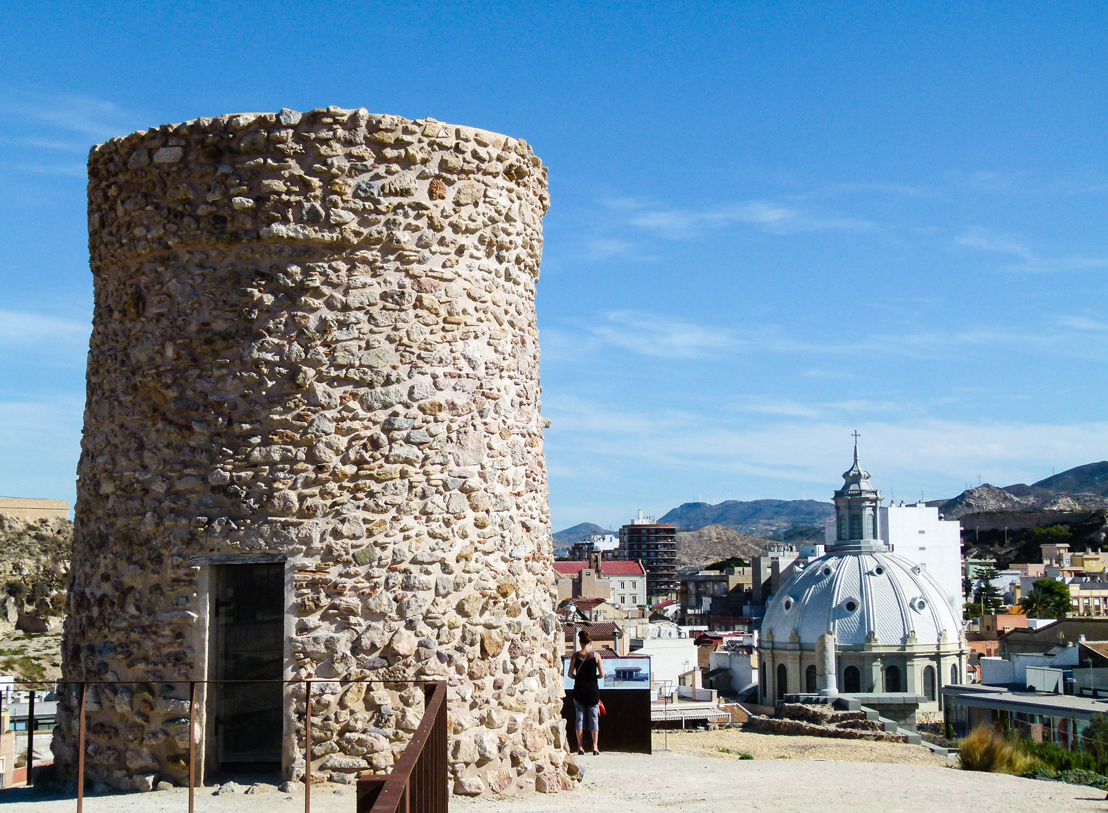 Stone tower overlooking the town of Cartagena, Spain.