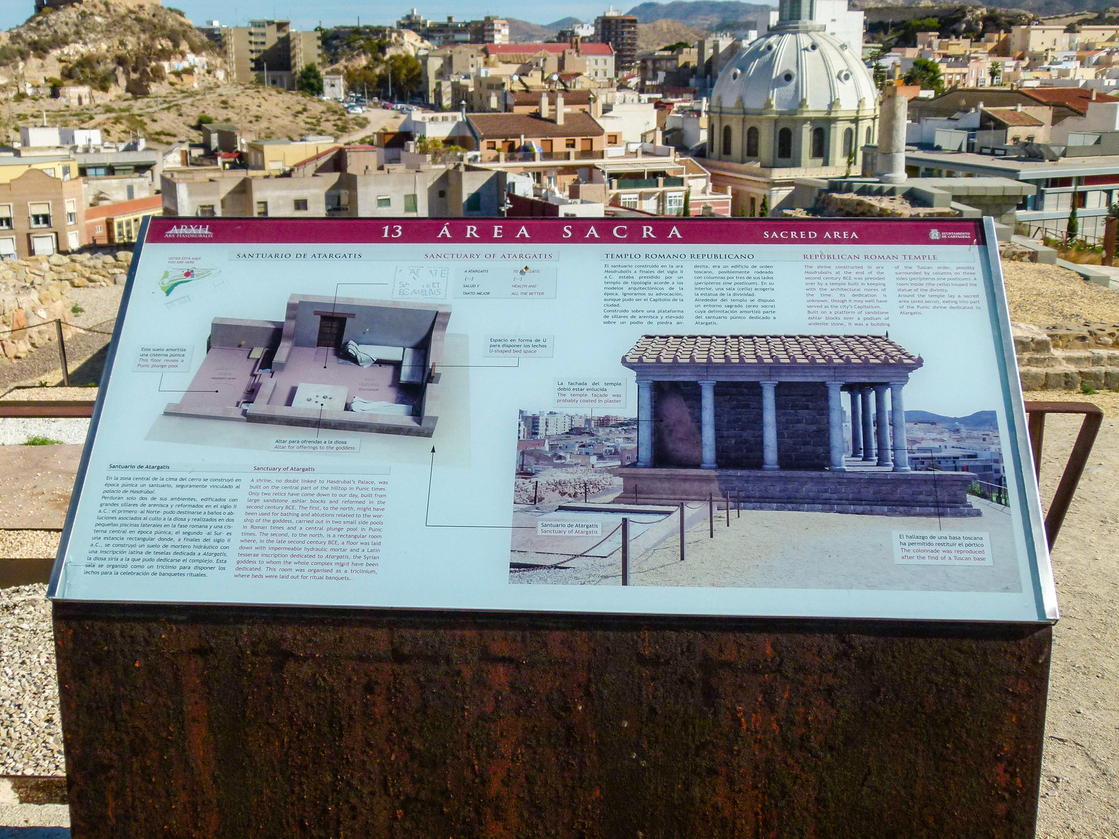 Architectural sign overlooking the domes and roofs in Cartagena, Spain.