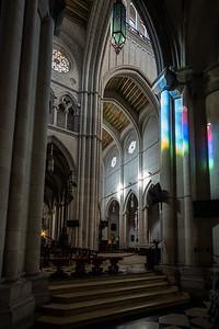 rainbow sunbeams in Catedral de la Almudena
