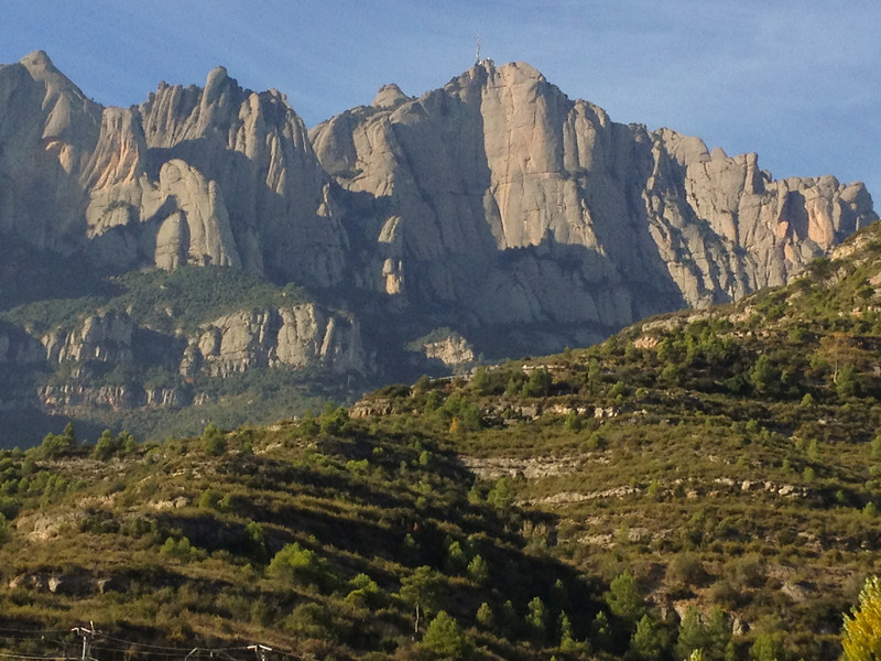 The stone-filled mountain chain of Montserrat about 30 miles west of Barcelona.