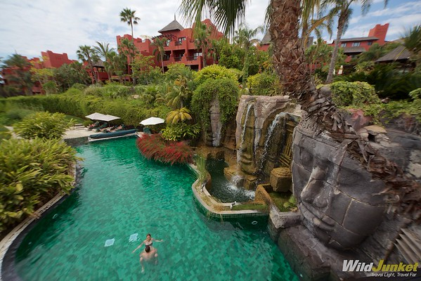 The resort's Asian theme as displayed by the Angkor Wat faces pool