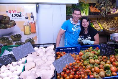 Fresh vegetable vendors in Alicante, Spain