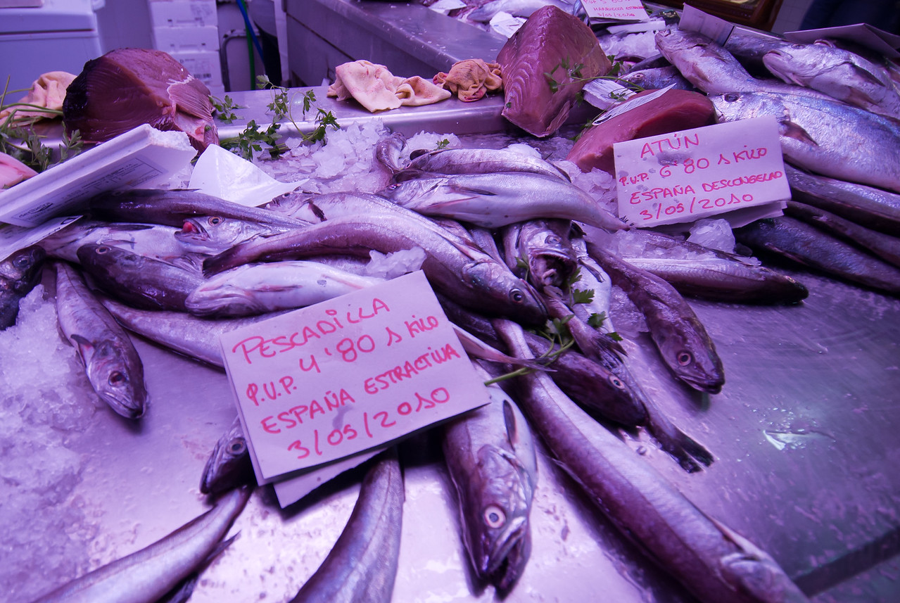 Fresh fish for sale in the market of Alicante, Spain