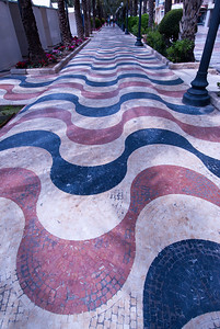 Colorful covered pathwalk in Alicante, Spain