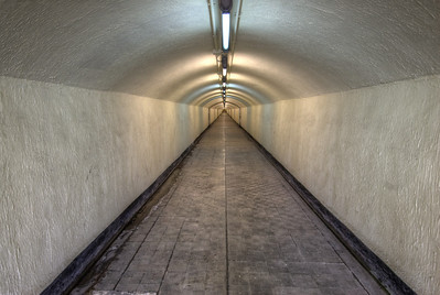 Access tunnel to lifts inside Monte Benacantil, Alicante, Spain