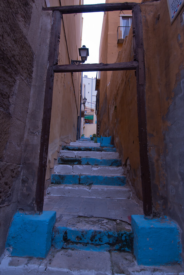 Narrow staircase in the alleys of Alicante, Spain