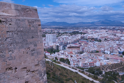 Overlooking view of the city skyline in Alicante, Spain