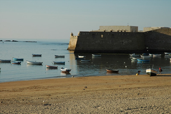 Boats and Fortress - Cadiz, Spain