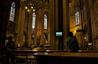 Inside Barcelona Cathedral.