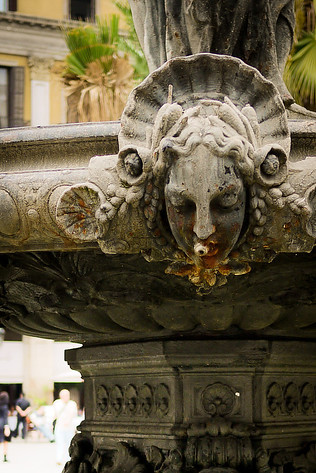 Up close with the fountain in the Plaza Real in Barcelona, Spain.